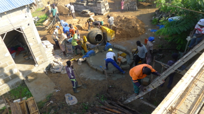 Worksite 23-cement mixer and workers from roof 2